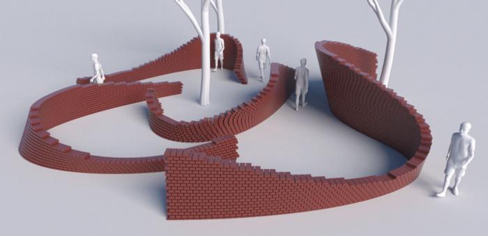 Model af installation, mure, odense