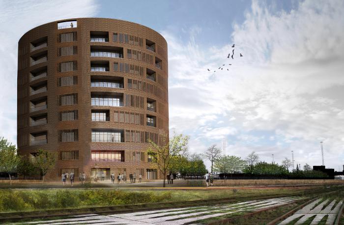 Tegnestuens rendering viser, hvordan det færdige hus ved Københavns Hovedbanegårdkommer til at se ud